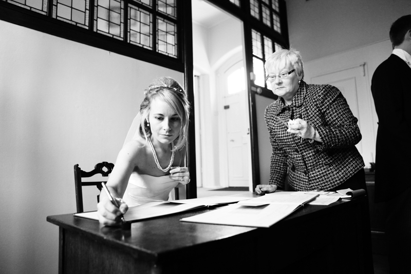 the bride, contract signing, St Agnes RC Church wedding