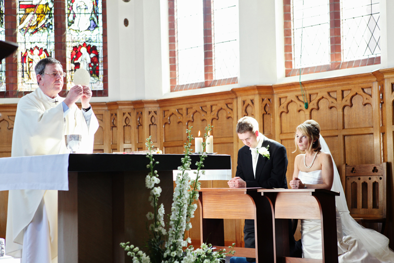 the bride and groom, wedding mass at St Agnes RC Church