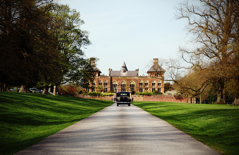 the Soughton Hall driveway, North Wales wedding photography