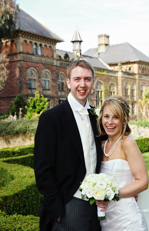 the bride and groom, Soughton Hall North Wales wedding