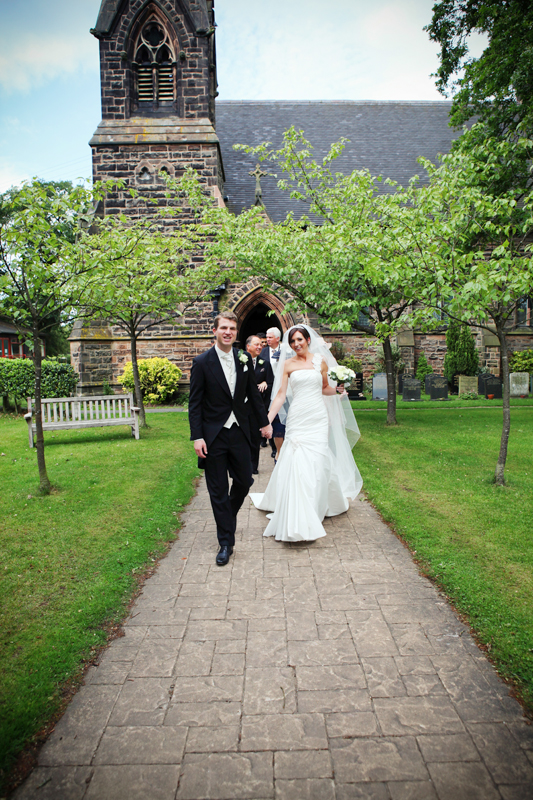 the bride and groom, Toft Church, Knutsford wedding