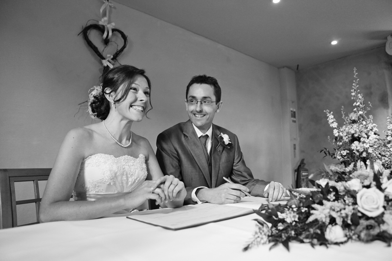 the bride and groom, contract signing, The Ashes, Staffordshire wedding