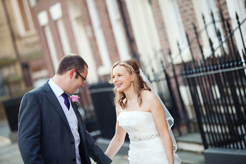 the bride and groom outside the Hope Street Hotel Liverpool