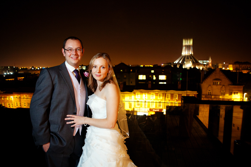 the bride and groom, overlooking the city, at Hope Street Hotel Liverpool