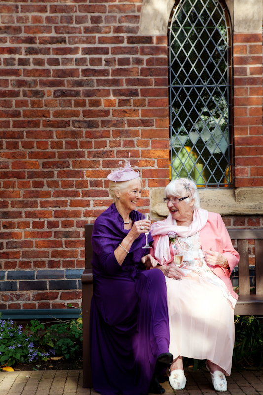 wedding guests at Gorton Monastery, Manchester