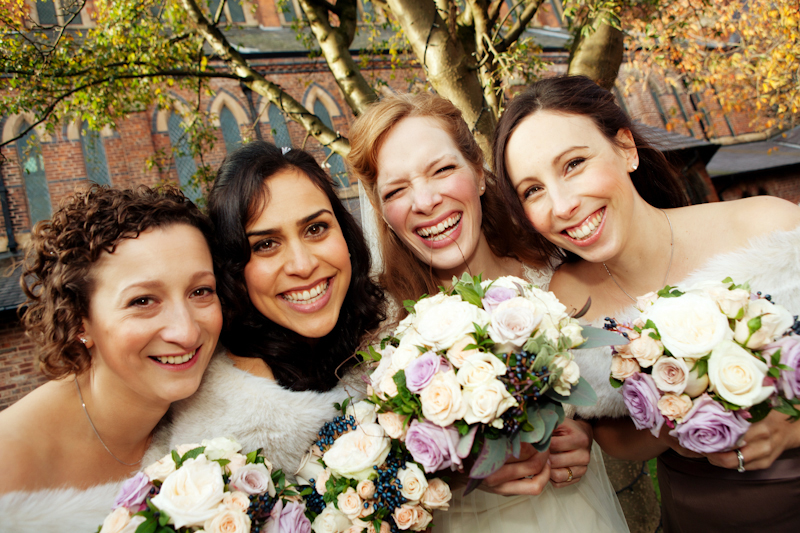 the bride with her bridesmaids, Gorton Monastery, Manchester wedding