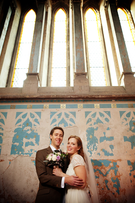 newlyweds at Gorton Monastery, Manchester